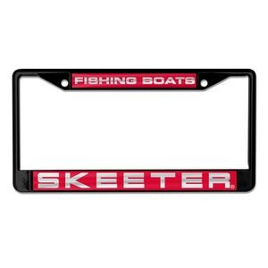 "Deluxe Acrylic License Plate Frames 6.25"" x 12.25"" Printed on metallic w/laser accents"