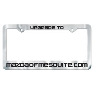 Chrome Faced Auto License Frame w/ 2 Holes & Large Bottom Panel