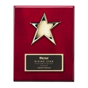 "Rising Star Plaque - Rosewood/Gold 8""x10"""