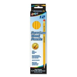 Liqui-Mark® Yellow #2 HB Pencils w/Pink Eraser (12-Pack)